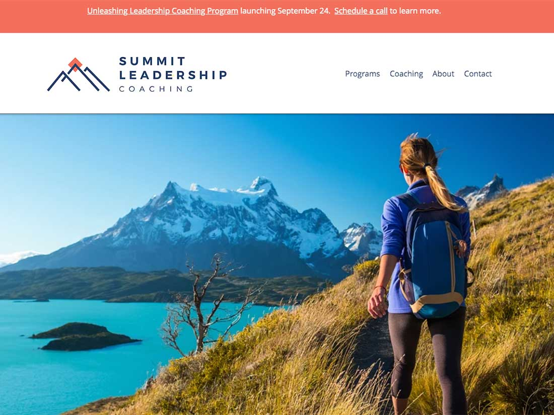 A screen shot of the website Summit Leadership Coaching designed by Straight Up Social.